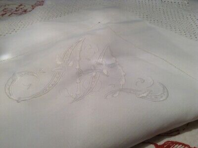 Vintage Snowy White Irish Linen Table Cloth Hand Embroidered Monogram & Crochet