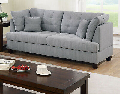 Living Room Furniture Grey Sofa Loveseat Tufted couch Pillows Polyfiber