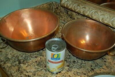 Set of 2 large antique HEAVY COPPER ROUND bottom MIXING Bowls BRASS WALL HOOKS