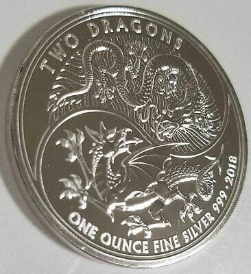 2018 Great Britain 1 oz Silver Two Dragons BU with protective capsule
