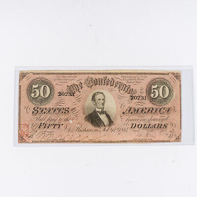 1864 Confederate Fifty ($50) Dollar Bill Richmond Currency T-66  #20231