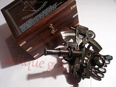 "Nautical Maritime ~ Brass Sextant W/ Wooden Box ~ Sextant Astrolabe 4"" @"