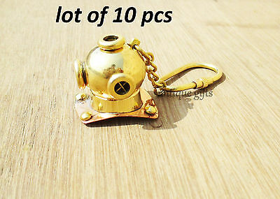 Brass Divers Helmet Keychain Maritime Nautical Keyring Gift Diving Helmet