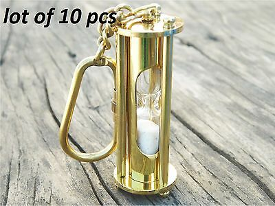 Brass Sand Timer Pendant Necklace Key Ring Maritime Nautical Key chain lot of10