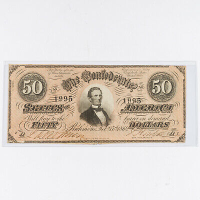 1864 Confederate Fifty ($50) Dollar Bill Richmond Currency T-66  #1995