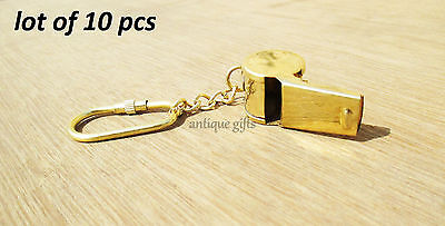 BRASS Police Bobby Barrel Whistle Cop Key ring GIFT ITEMS lot of 10 pcs