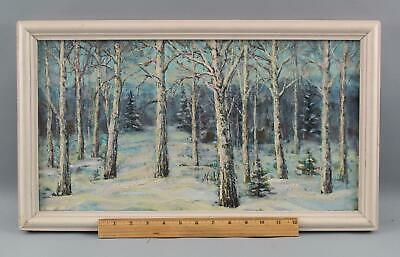 Vintage Russian Winter Forest Landscape O/C Oil Painting, No Reserve!