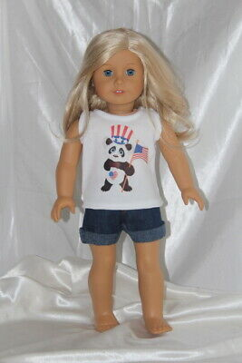 Doll Clothes fits 18inch American Girl Dress Outfit Panda Patriotic Denim Shorts