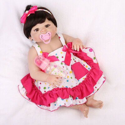 "22"" Reborn Baby Dolls Full Body Vinyl Silicone Girl Doll Handmade Dress Newborn"