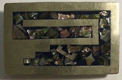 Vintage Alpaca Mexico Silver Abalone Shell Belt Buckle