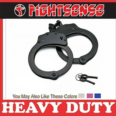 Professional Double Lock Steel Metal Police Handcuffs Authentic With Keys Black