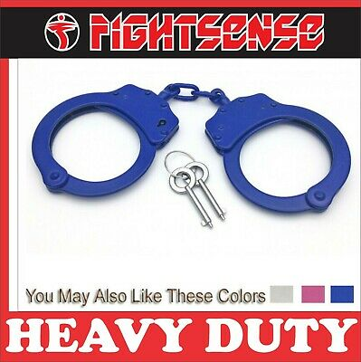 Professional Double Lock Steel Metal Police Handcuffs Authentic With Keys Blue