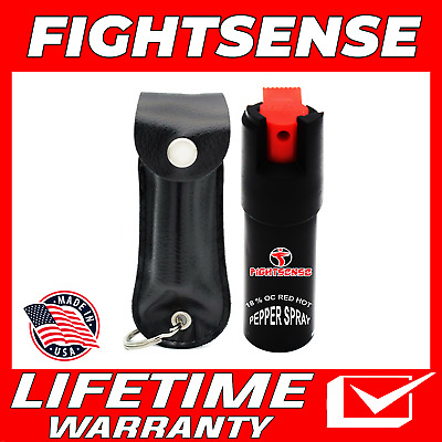 Police Pepper Spray Maximum Strength Leather Case Self Defense Security Black