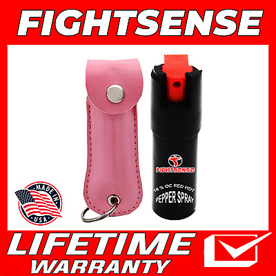 Police Pepper Spray Maximum Strength Leather Case Self Defense Security Pink B