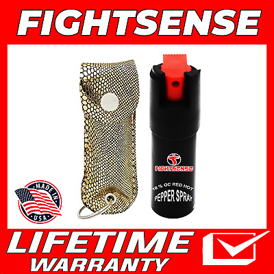 Police Pepper Spray Maximum Strength Leather Case Self Defense Security Snack G
