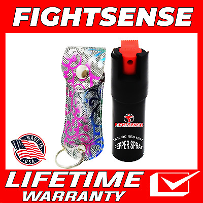 Police Pepper Spray Maximum Strength Leather Case Self Defense Security Pink