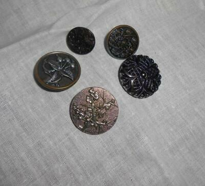 #51 Vintage Lot 5 Buttons W/Flowers Glass & Metal 1 Marked Brevete Paris on Back