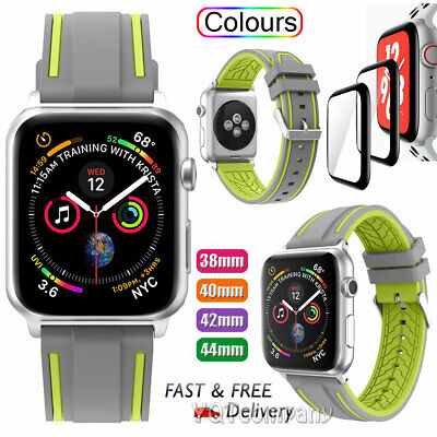 Wrist iWatch Strap Band+Tempered Glass For Apple Watch SERIES 1 2 3 4 5 42/44MM