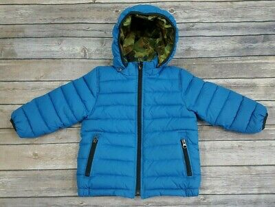 35a7fb6c2976e Baby GAP Toddler Boy 2 Years 2T Blue/Camo Reversible Warmest Puffer Jacket