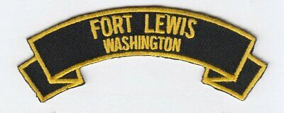 """Fort Lewis 4""""  embroidered patch scroll tab"""