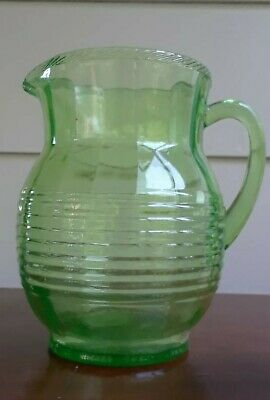 Vintage/Antique Green Depression Glass Pitcher Horizontally Ribbed
