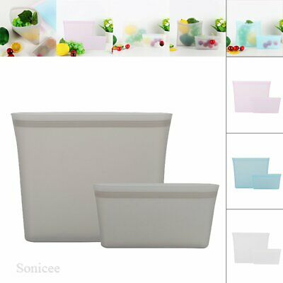 3Pcs Reusable Silicone Food Storage Bags Zip Top Leakproof Containers Stand PP