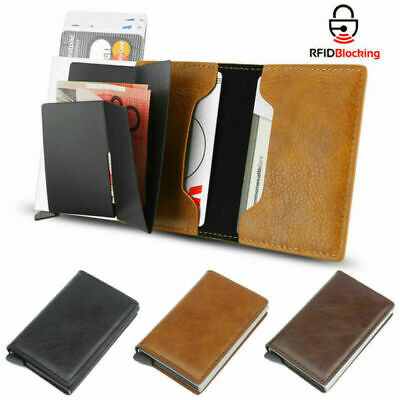 Mens RFID Blocking PU Leather Wallet Slim Purse Bifold Credit Card Holder