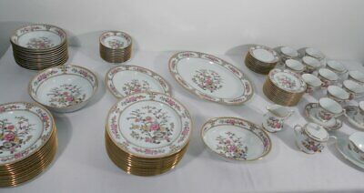 Rare Set Of Noritake Dinnerware Pattern 2502 Asian Dream 12 Place Settings 93 pc