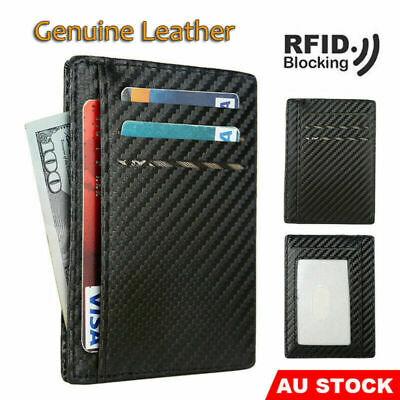 RFID Blocking Purse Flip Leather Wallet Slim Credit Card Holder Mens Money Clip