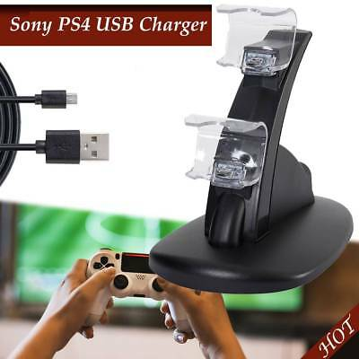 For Sony PS4 Charging Fast Charger Dock Dual Controller LED USB Station Stand AU