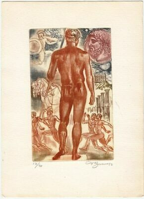 Coloured Exlibris Etching by David Bekker (*1940) with Olympiade-Motiven