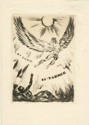 Exlibris Etching by Hans Freese (1889-1953) - Ikarus and Male Act