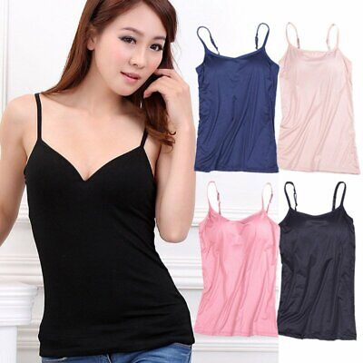 a5877906cd Women's Camisole with Built in Bra Crew Neck Vest Padded Slim Tank Tops  Blouse