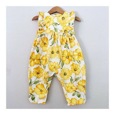AU Flower Baby Toddler Girl Clothes Sleeveless Romper Jumpsuit Bodysuit Playsuit