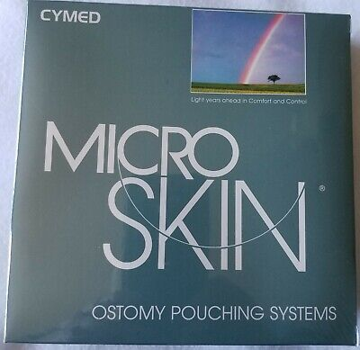 "Ostomy Pouching System 10 Bags Cymed Plain Micro Skin 1 3/4"" Stoma Cut-To-Fit"