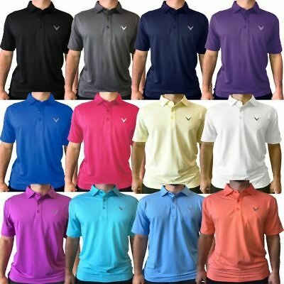 Callaway Golf Mens Opti-Dri Micro-Hex Solid Performance Golf Polo Shirt