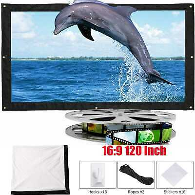 """White Matte 3D HD Projector Projection Screens 120"""" Inch 16:9 Soft Curtain Films"""
