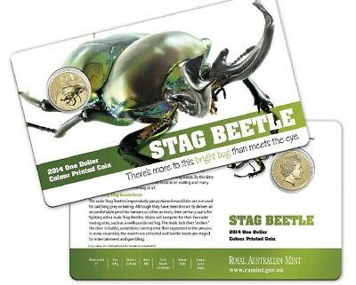 2014  $1 AlBr Colour Printed Frosted Unc Coin. Bright Bugs - Stag Beetle