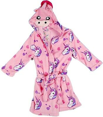 Kids Girl's Pink Unicorn Print Hooded Fleece Dressing Gown Robe Cozy Bathrobe