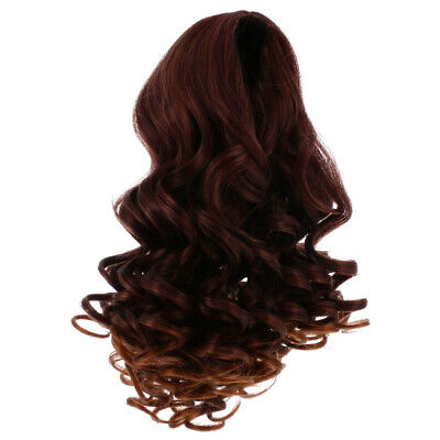 25cm Cute Long Wavy Wig Centre Parting Hair for 18'' American Doll Red Brown