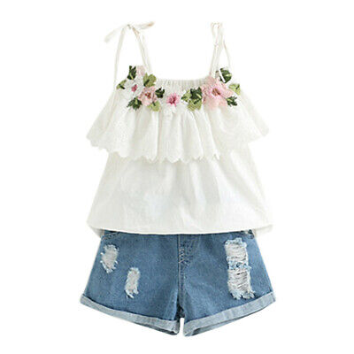 Toddler Kids Baby Girl Outfits Clothes Embroidery T-shirt+Denim Shorts Jeans Set