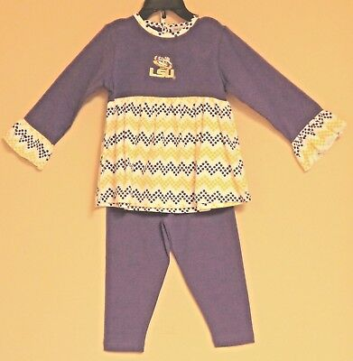 Lsu Tigers Louisiana State Girl's Outfit Set Empire Tunic Top With Leggings New