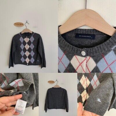 Sz 6 (Best Fit 4-5) Burnerry Grey Diamond Wool Cardigan