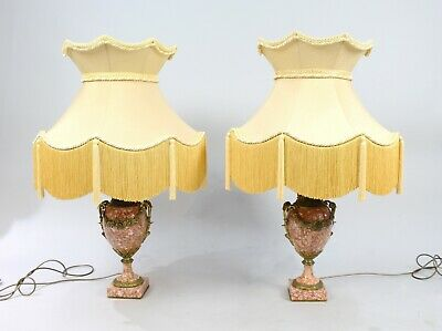 Pair of Antique French Rouge Marble & Ormolu Table Lamps with Silk Shades