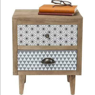 Kommode 2 Drawer Bedside Table Wood, Multicolour