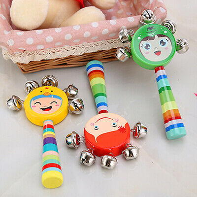 Cartoon Wooden Rattle Toys Baby Rattle Smiley Hand Bell Fuuny Music Rattle Toy