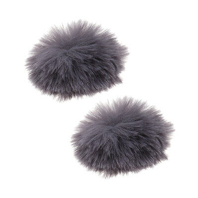 2xGray Microphone Windscreen Windshield Muff Reduce Wind Noise Mic Fur Cover
