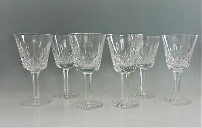 "Waterford Lismore Crystal Claret Wine Glasses 5 7/8"" Set of 6"