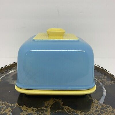 VTG Toast Keeper Cloche Blue Yellow MCM 60s Breakfast Pottery