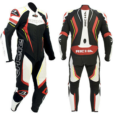 Richa Francorchamps Motorbike Leather 1 One Piece Suit - Black / Red / Fluo